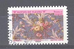 France Autoadhésif Oblitéré (Motifs De Fleurs : Roses Et Muguet) (cachet Rond) - Oblitérés