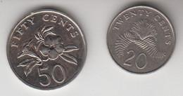 SINGAPORE 1997 50 CENTS 1987 20 CENTS - Singapore