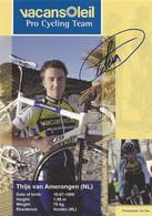CARTE CYCLISME THIJS VAN AMERONGEN SIGNEE TEAM VACANSOLEIL 2009 - Cyclisme