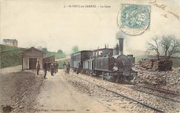 42 LOIRE Très Beau Plan Du Train Des CFDL Dans La Petite Gare De St PAUL En JARREZ Carte Colorisée - Autres Communes