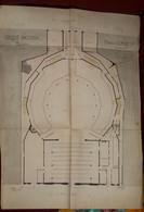 VIEUX PAPIER UNIQUE NORMANDIE PLAN ENSEMBLE MANUSCRIT CIRQUE NATIONAL ROUEN SAINT SEVER RUE LAFAYETTE LEMIRE 1876 - Arquitectura