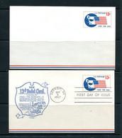 USA 1967 2 Postal Stationary Cards 13c Detroit MI 11520 - 1961-80