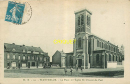 59 Wattrelos, La Place Et L'Eglise St Vincent De Paul, Carte Pas Courante - Wattrelos