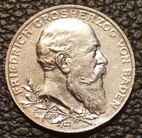 """Baden 2 Mark 1902 """"50th Anniversary Of The Reign Of Duke Friedrich I"""" - 2, 3 & 5 Mark Silber"""
