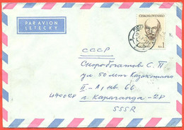 Czechoslovakia 1980.The Envelope Passed Through The Mail. Airmail. - Lenin