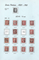 Victoria 1d RED - SG43 Used - PAGE ONE Of EIGHT Pages  (14 Stamps ) See Scan For Quality - Used Stamps