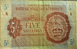 """British Military Authority """"Five Shillings"""" - British Military Authority"""