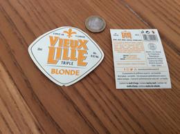 """Etiquette De Bière + Contre-étiquette """"VIEUX LILLE TRIPLE BLONDE"""" Brasserie Des Sources St Amand Des Eaux (59) - Bier"""