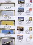 Aviation Avion Timbre Concorde Lot De 13 Enveloppes Commémoratives Anniversaire Maldives St-Vincent Cover Stamp Plane - Avions