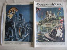 # DOMENICA DEL CORRIERE N 16 -1957 REGINA ELISABETTA A PARIGI / BELVA SUI TETTI - Prime Edizioni