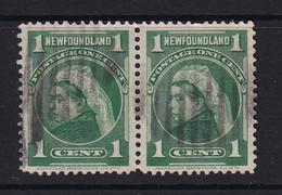 Newfoundland: 1897/1918   QV   SG85   1c   Blue-green   Used Pair - 1865-1902