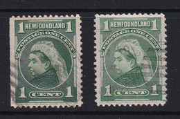Newfoundland: 1897/1918   QV   SG85 / 85a   1c   Blue-green And Yellow-green    Used - 1865-1902