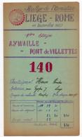 RALLYE De L'ARMISTICE - LIEGE - ROME *Royal Motor Union Liège*Aywaille Pont De Villettes Erezée Rome* 11.11.1953 - Altri