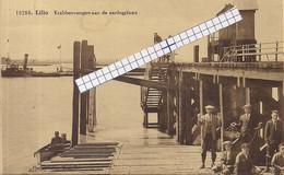 """LILLO-ANTWERPEN """"KRABBENVANGERS AAN DE AANLEGPLAATS-ANIMATIE""""HOELEN 10280 UITGIFTE:05.09.1929 TYPE 9-ZELDZAAM - Antwerpen"""