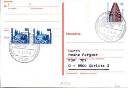 """WB Amtl.Ganzsachen-Postkarte P134 ZF Wst.""""Sehenswürdigkeiten"""" 40(Pf) Orange/blau/dunkelbr., SSt. 5.2.91 PFORZHEIM - Postkarten - Gebraucht"""