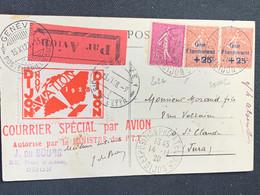 Recommandée Courrier Spé Par Avion 15/11/1923 Exposition Phila Dijon Caisse D'amortissement No 202a 200x2 - 1927-1959 Used
