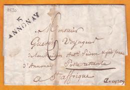 1903 - Marque Postale Annonay Sur LAC Vers La POSTE RESTANTE Saint AFFRIQUE, Aveyron - Taxe 6 - 1801-1848: Précurseurs XIX