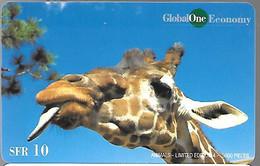CARTE-PREPAYEE SUISSE-10CHF-GLOBAL ONE ECONOMY--TETE DE GIRAFE-5000Ex-Gratté-Plastic Epais Glacé-TBE - Giungla