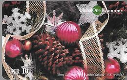 CARTE-PREPAYEE SUISSE-10CHF-GLOBAL ONE ECONOMY-Merry Christmas-NOEL1999-5000Ex-Gratté-Plastic Epais Glacé-TBE - Natale