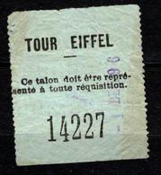 Eintrittskarte Tour Eiffel Paris Eiffelturm 1896 - Biglietti D'ingresso