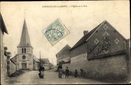 CPA Courcelles Sur Seine Eure, L'Église Et La Rue - Altri Comuni