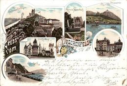 Gruss Vom Drachenfels - Litho 1895 - Koenigswinter