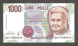 """Italia - Banconota Non Circolata FDS UNC Da 1000 Lire """"Montessori"""" P-114c.3 - 1998 #19 - 1000 Liras"""