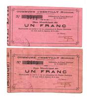 1914-1918 // COMMUNE D'HERVILLY (SOMME 80) // Août 1915 // 2 Bons De Un Franc // Fleurons Différents - Bonds & Basic Needs