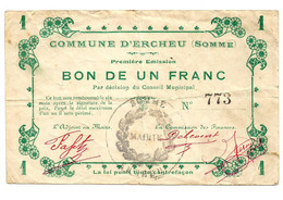 1914-1918 // COMMUNE D'ERCHEU (SOMME 80) // Bon De Un Franc - Bonds & Basic Needs