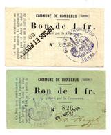1914-1918 // COMMUNE DE HOMBLEUX (SOMME 80) // 2 Bons De Un Franc - Bonds & Basic Needs