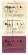 1914-1918 // COMMUNE DE SAINT SULPICE (SOMME 80) //  3 Bons De Un Franc // Variété - Bonds & Basic Needs