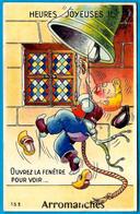 """CPA à Système Dépliant 14 ARROMANCHES """"Heures Joyeuses...ouvrez La Fenêtre Pour Voir..."""" ** Sonneur De Cloche - Arromanches"""