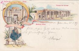 A37) Pylone Et Portre - Du Petit Tempel - TEMPLE De KURNAH - Medinet Abou - Tolle LITHO 1899 - Other
