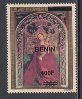 2009 Benin Art Paintings Schongauer 400F Overprint Y&T 1183 Scott C641 MNH **DIFFICULT** - Benin – Dahomey (1960-...)