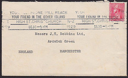 1929 NZ - ENGLAND ADMIRAL Cover 1d Rate TELEPHONE SLOGAN - Covers & Documents