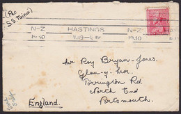 1930 NZ - ENGLAND ADMIRAL Cover 1d Rate Per SS TAINUI - Covers & Documents