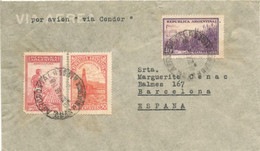 Argentina 1937, Letter Sent And Franked As Condor-Lufthansa Airmail, Mark On The Back That The Letter Arrived By Land. L - Covers & Documents