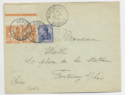 FRANCE SEMEUSE 30C ORANGE PAIRE MIXTE GERMANIA 20C LETTRE COVER MASSEVAUX 11.2.1915 ALSACE - Alsace-Lorraine