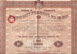 Royaume De Yougoslavie Emprunt Funding Or 5% 1933 - W - Z