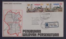 Malaysia 1974 Penubuhan Wilayah Persekutuan Registered FDC - Malaysia (1964-...)