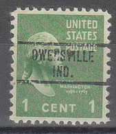 USA Precancel Vorausentwertungen Preos, Locals Indiana, Owensville 734 - Vorausentwertungen