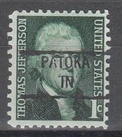 USA Precancel Vorausentwertungen Preos, Locals Indiana, Patoka 841 - Precancels