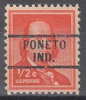 USA Precancel Vorausentwertungen Preos, Locals Indiana, Poneto 729 - Precancels