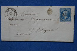 AC1 FRANCE  BELLE LETTRE   1866 CELLETTES POUR  ST AIGNAN  + AFFRANCHISSEMENT INTERESANT - 1863-1870 Napoléon III. Laure