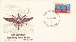 Australia FDC 15-5-1978 50 Years Royal Flying Doctor Service With Cachet - Primo Giorno D'emissione (FDC)