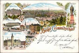 Ansichtskarte Litho AK Crimmitschau Knabenschule, Bahnhof, Etc Gruss Aus 1897 - Crimmitschau