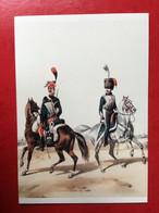 N°2892. ILLUSTRATION D'UN SOLDAT ET D'UN OFFICIER DE LA GARDE D'HONNEUR EN 1813. CARTE RECLAME DE LA SOCIETE D'ARCHEOLOG - Uniformen