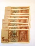 Lot De 8 Billets 5 Reichsmark 1942 Et Un 5 Reichsmark De 1926 - 5 Reichsmark