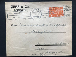 GERMANY 1920 Cover Leipzig To Dortmund Tied With 10 Pf Flugpost - Covers & Documents