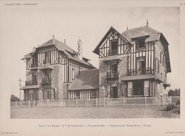 """Villers Sur Mer  -villa """"La Rafale"""" Et """"Le Tourbillon""""  Et Son Plan -superbe Gravure- - Architectuur"""